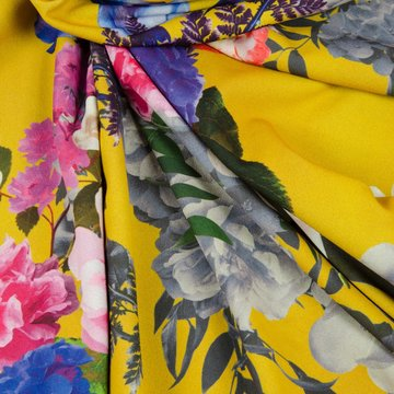 Crepe - Geel met felgekleurde bloemen