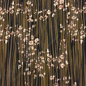 Katoen - Olijfgroen met onregelmatige lijnen