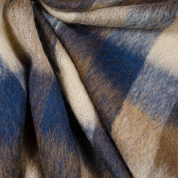 Mantelstof - Ruiten bruin met blauw