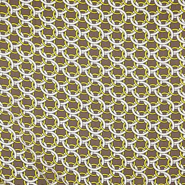 Viscose - Bruin met gele ronde kettingen