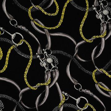 Viscose - Zwart met gele kettingen