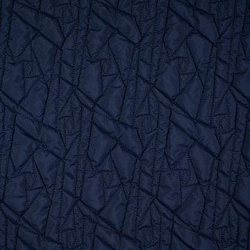 Mattelassé - Blauw met rood geometrisch doorstikt