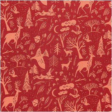Katoen - Rode winterwereld