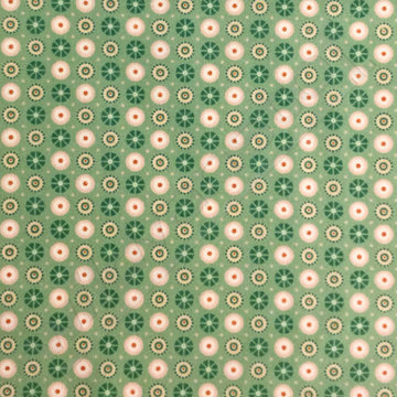 Flanel - Groene bloempjes met stip