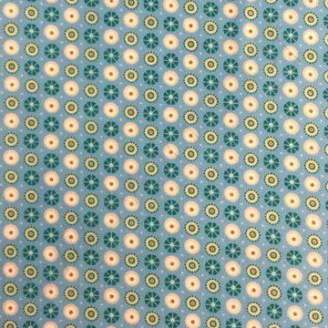 Flanel - Blauwe Bloempjes met stip