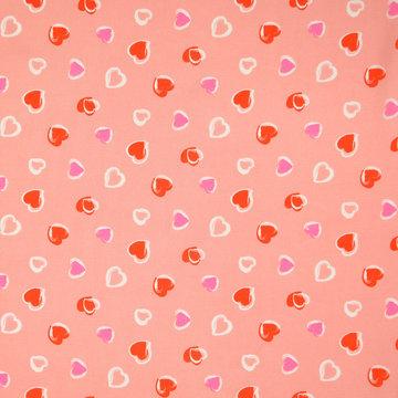 Viscose - Zalmroze met lieve hartjes