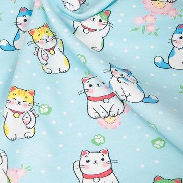 Frenchterry - Japanse kat op lichtblauw