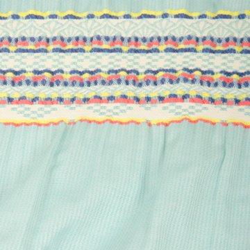 Katoen - paneel turkoois met geborduurde tailleband