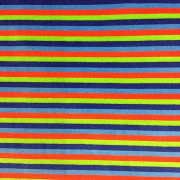 Nicky velours - Blauw rood groene streep