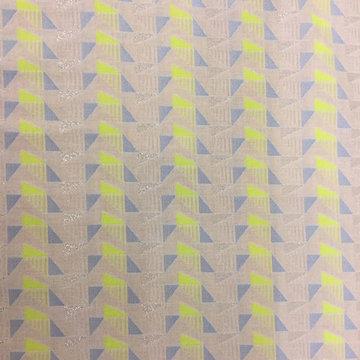 Katoen - Fluo driehoeken met blauw