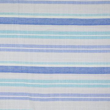 Katoen - Zomerse blauwe strepen