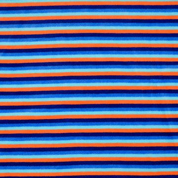 Nicky velours - Blauw met oranje strepen