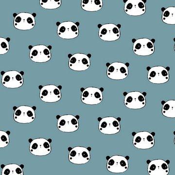 Flanel - Schattige panda op grijsblauw