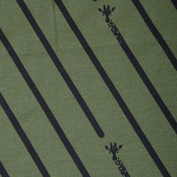 Tricot - Langnek giraf op groen
