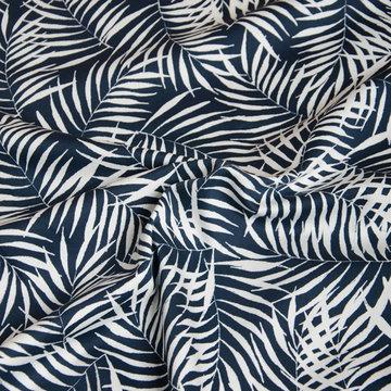 Stretchkatoen - Donkerblauw met witte varens