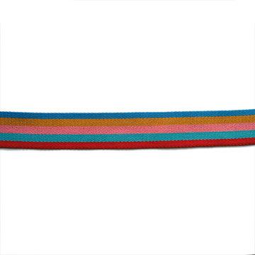 Tassenband 38mm - 5 kleurige blauwe streep