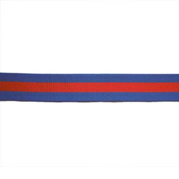 Tassenband 38mm - koningsblauw met rode streep