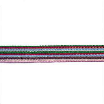 Tassenband 38mm - Heel  fijne strepen groen rood blauw