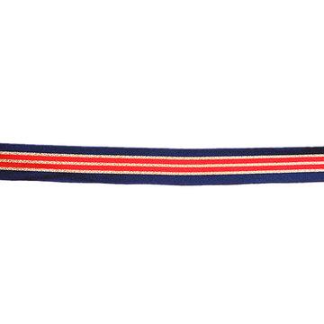 Sierlint 30 mm - Donkerblauw met rood en goud lijnenspel