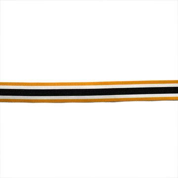 Sierlint 30 mm - Zwart met wit en mosterdgele lijnen