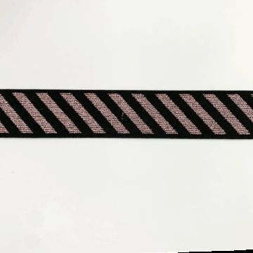 Elastiek 25 mm - Schuine streep glitterroze -zwart