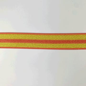 Elastiek 25 mm - Gele structuur met koraalroze lijn