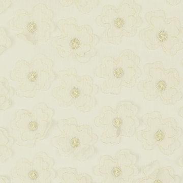 Chiffon - Ecru met geborduurde goudbloem