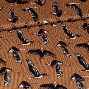 Viscose - Vogels op mosterd oranje zigzag