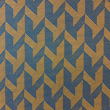 Jacquard tricot - zigzag geel-blauw