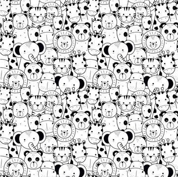Tricot - Dierenkoppen zwart-ecru