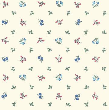 Katoen - Bloempjes roze-blauw-groen