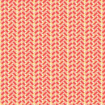 Katoen - Zigzag blokjes roze-oranje