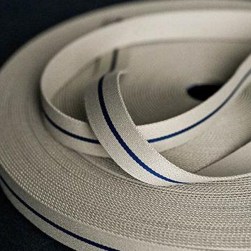 Tassenband - Beige met marine middenstreep