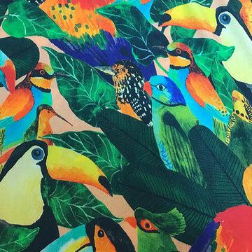 Viscose - Tropisch met grote papegaai
