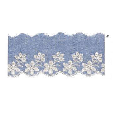 Broderie jeansblauw 50 mm - Bloemen