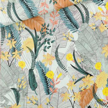 Viscose rayon - Playtime Tropic flowers chalk blue