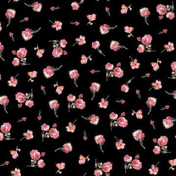 Satijn - Zwart met roze bloem