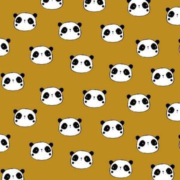 Flanel - Schattige panda op oker