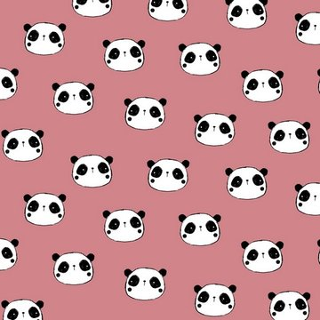 Flanel - Schattige panda op roze