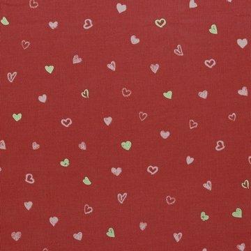 Ribfluweel - Zacht baksteenrood met lief hartje
