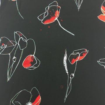 Viscose - Zwart met rode accent bloem