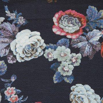 French terry - Digitale barok bloemen op donkerblauw
