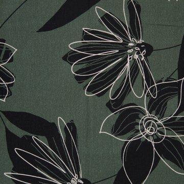 French terry - Zwart-wit oosterse bloem op kakigroen
