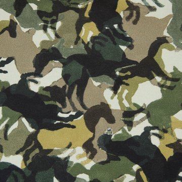 French terry - Camoufflage paarden groen