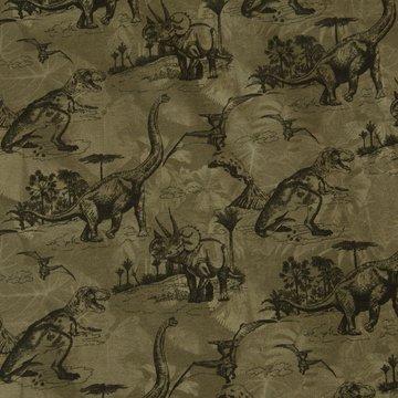 French terry - Prehistorische dinosaurus op kaki