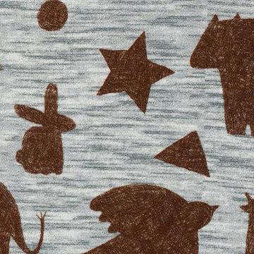 French terry - Mini forest bruine dieren