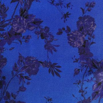 Viscose - Koningsblauw met paars bloem LMV