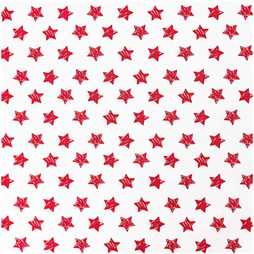 Katoen - Wit met rode gekleurde ster