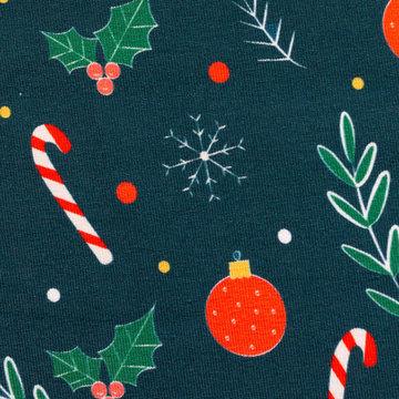 Jersey - Klein kerstsnoep op petrolgroen