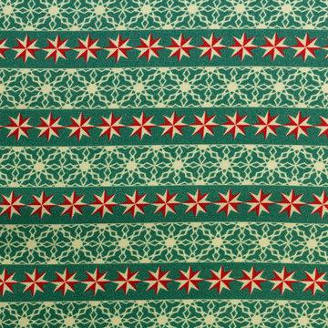 Katoen -Kerstster en lijnen op groen